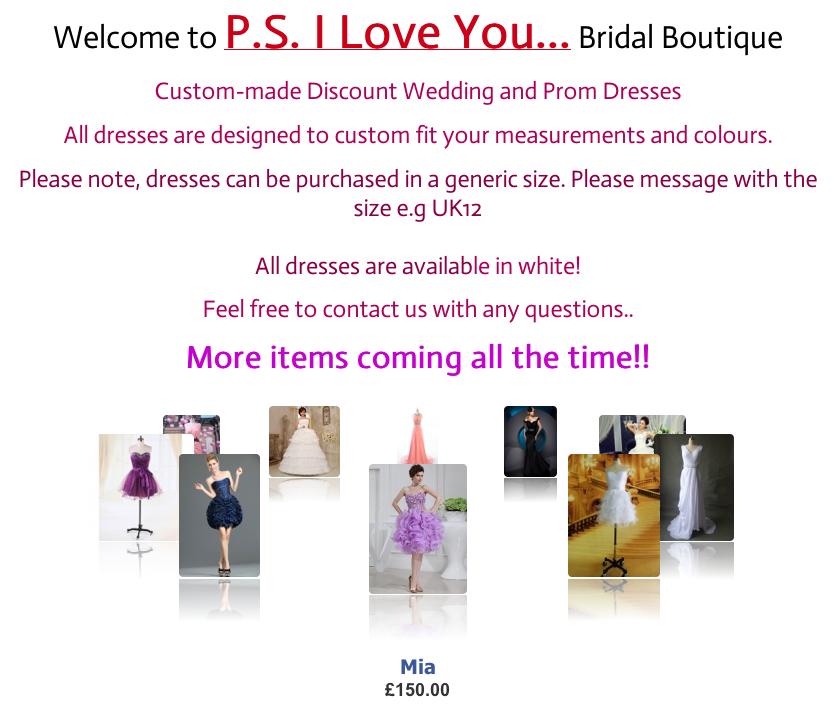 PS I Love You Bridal Wear and Wedding Plan